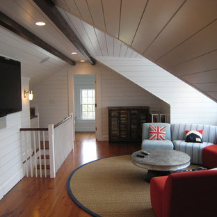 Mountain style loft-style medium tone wood floor family room photo in Charleston with white walls and a wall-mounted tv