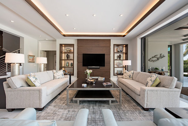 Transitional Family Room by Kukk Architecture & Design P.A.