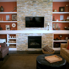 Transitional Family Room by Lyla Veinot Designs