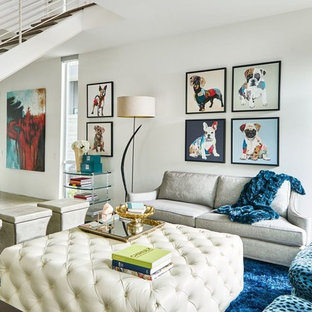 Eclectic open concept carpeted and blue floor family room photo in Dallas with white walls