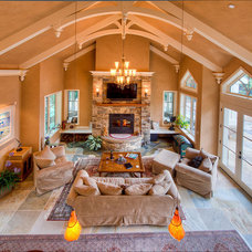 Mediterranean Family Room by Leff Construction Design/Build
