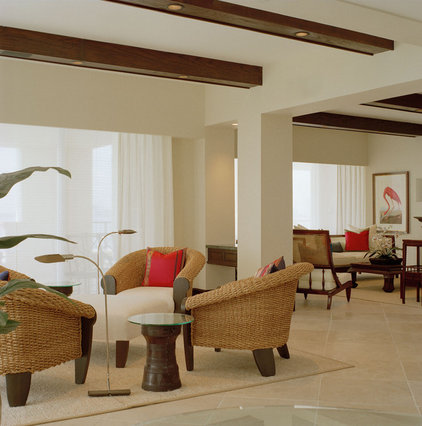 Tropical Family Room by Causa Design Group