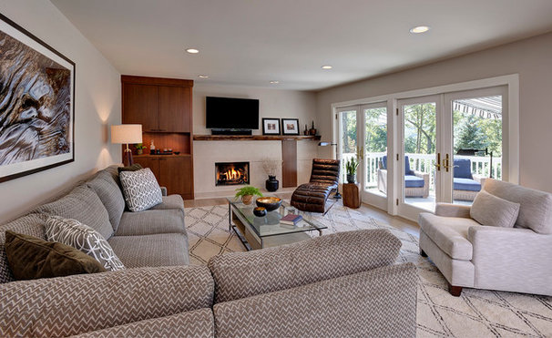 Transitional Family Room by Beth Rosenfield Design LLC
