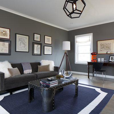 Family room - contemporary family room idea in San Francisco with gray walls