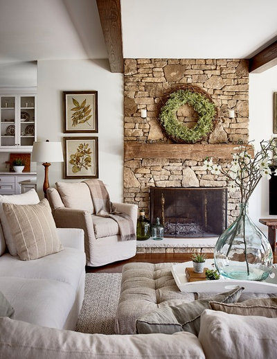 Transitional Family Room by Ally Whalen Design