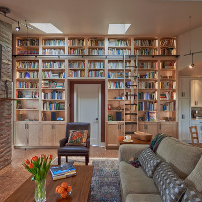Inspiration for a mid-sized craftsman open concept cork floor and brown floor family room library remodel in Seattle with a standard fireplace, purple walls, a brick fireplace and no tv