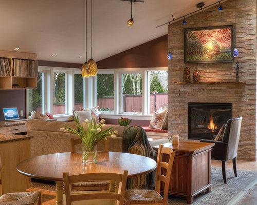 salle de s jour avec un manteau de chemin e en brique et un mur rouge photos et id es d co de. Black Bedroom Furniture Sets. Home Design Ideas