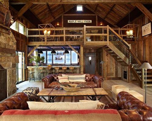 Farmhouse Family Room Idea In New York