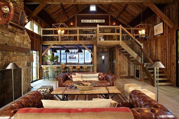 Farmhouse Family Room by KELLY + CO DESIGN