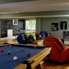modern family room basement fun room