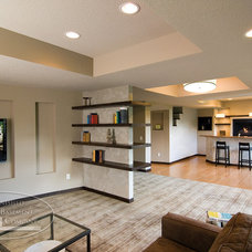 Contemporary Family Room by Finished Basement Company