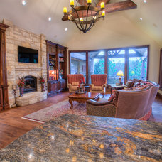 Rustic Family Room by Brent Gibson Classic Home Design
