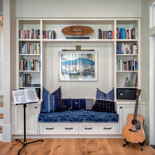 Example of a mid-sized coastal open concept medium tone wood floor and beige floor family room design in San Francisco with a music area and beige walls
