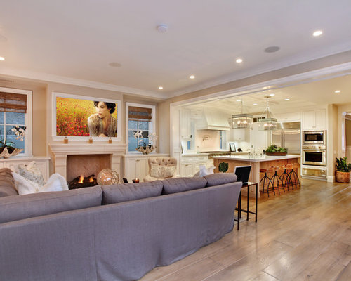 Example Of A Coastal Open Concept Family Room Design In Orange County With  Beige Walls,