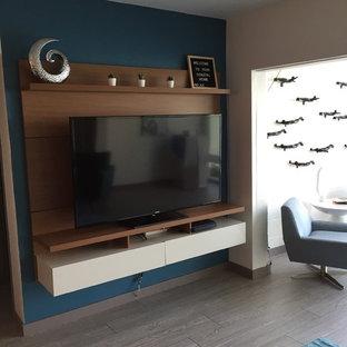 タンパの小さいコンテンポラリースタイルのおしゃれなファミリールーム (青い壁、リノリウムの床、壁掛け型テレビ、グレーの床) の写真