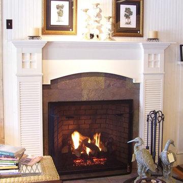 Beach cottage fireplace