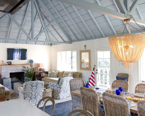 Coastal Open Concept Family Room Photo In San Diego With White Walls A Standard Fireplace