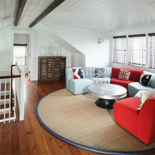Family Room   Beach Style Family Room Idea In Charleston With White Walls