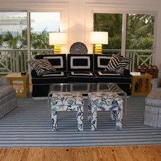 Tropical Family Room by Deborah Houston Interiors