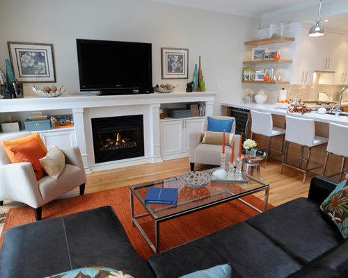 Beach Style Open Concept Medium Tone Wood Floor Living Room Idea In Toronto  With A Standard