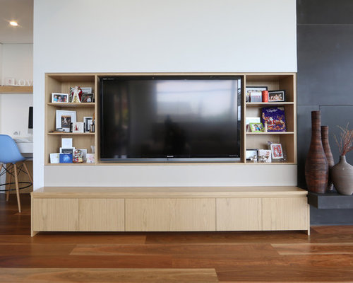 Long low entertainment unit home design ideas pictures remodel and decor - Inspiration wall mounted tv cabinet ...