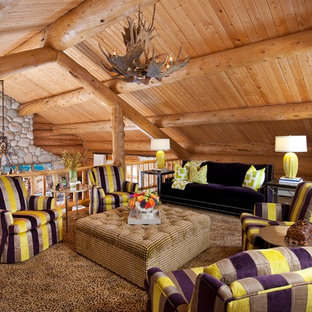 Mountain style family room photo in Dallas