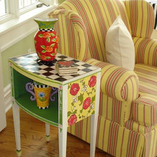 Eclectic Family Room BeColorful Colorfully Painted Accent Table