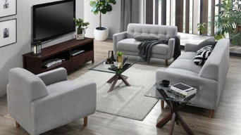 Bella 5PCE Living Room Furniture Package | Dark Hardwood | Grey