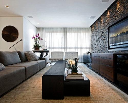 Tv Wall Design Ideas ideas Contemporary Open Concept Family Room Idea With A Wall Mounted Tv