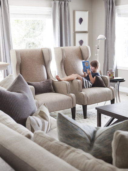 Transitional Family Room by Alice Lane Home Collection