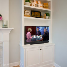 Transitional Family Room by Rockwood Cabinetry