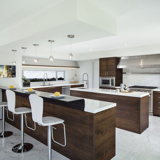 Bent Steel Bar Top and Custom Stainless Steel Oven Hood  - Valdes Residence