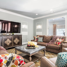 Transitional Family Room by Eric Ross Interiors, LLC