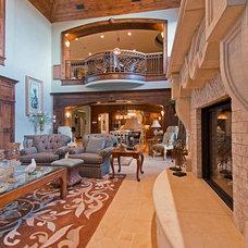 Mediterranean Family Room by Inouye Design