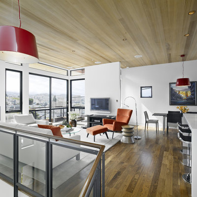 Trendy loft-style medium tone wood floor family room photo in San Francisco with white walls and a wall-mounted tv