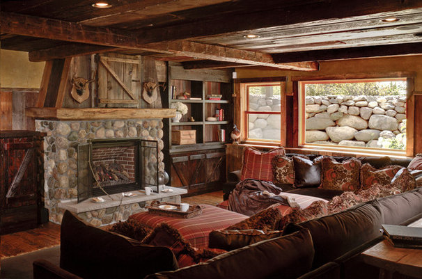 Rustic Family Room by Michelle Fries, BeDe Design, LLC