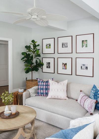 Transitional Family Room by Larina Kase Interior Design
