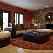 Transitional Family Room by Designing Solutions