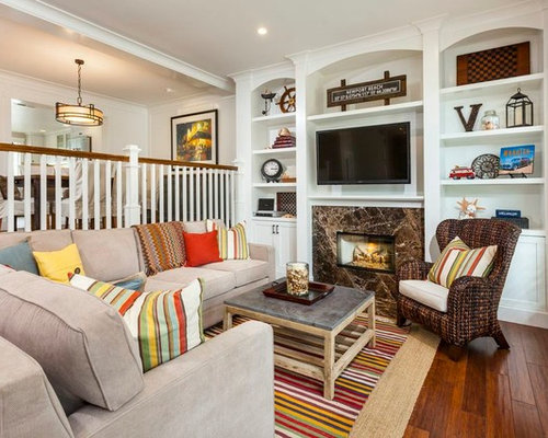 Family Room Traditional Dark Wood Floor Idea In Orange County With A Standard
