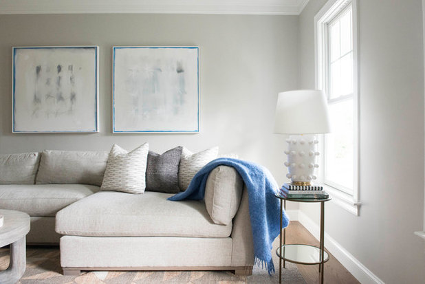 Transitional Family Room by Wendy Callahan Interiors and Fine Art