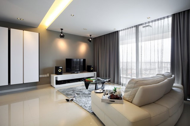 Contemporary Family Room by Black N White House