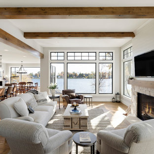 Design ideas for a beach style family and games room in Minneapolis.