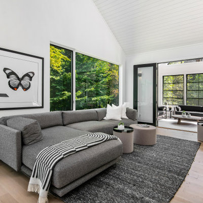 Example of a minimalist open concept light wood floor and beige floor family room design with white walls