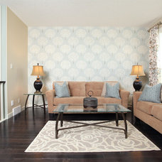 Transitional Family Room by Mulberry's Design House