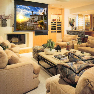 Trendy Open Concept Family Room Photo In Los Angeles With Beige Walls And A Standard Fireplace
