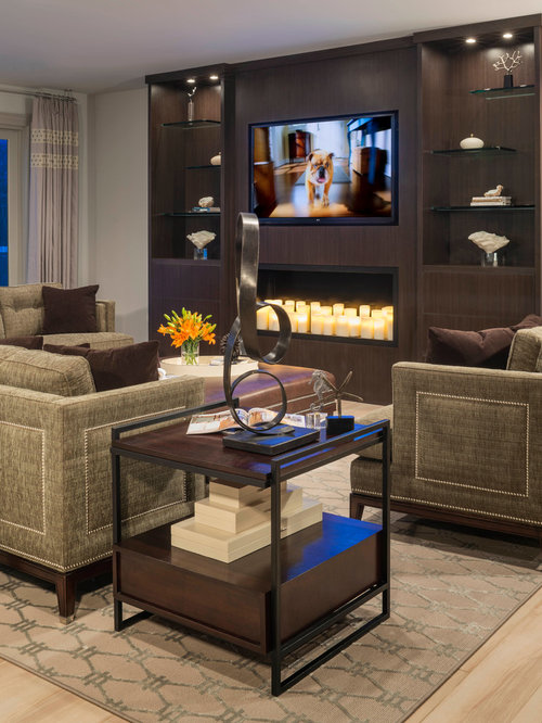 wall units with fireplace. Example of a huge trendy open concept light wood floor family room design  in Detroit with Entertainment Wall Units Fireplace Houzz