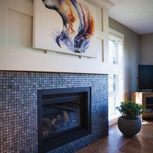 Blue Metallic Mosaic Tile Gas Fireplace