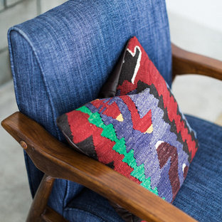Blue Mid Century Modern Chair with Colorful Turkish Kilim Pillow