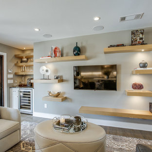 Mid-sized trendy open concept light wood floor family room photo in Dallas with gray walls, no fireplace and a wall-mounted tv