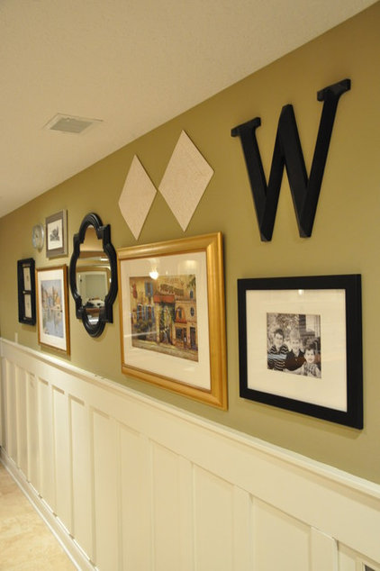 Traditional Family Room Board and Batten Basement Bar